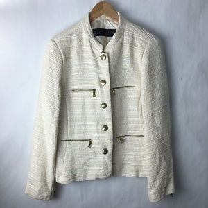 Zara tweed black cream metallic jacket xxl